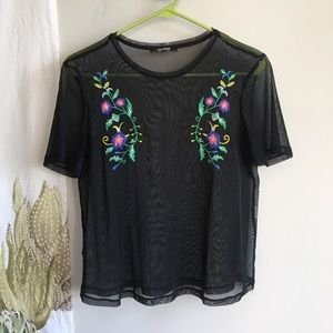 Black mesh embroidered shirt by Zara, size M
